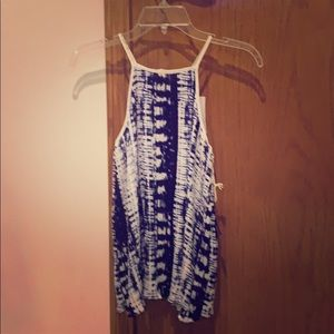 Blue & white flowing tank top (small)